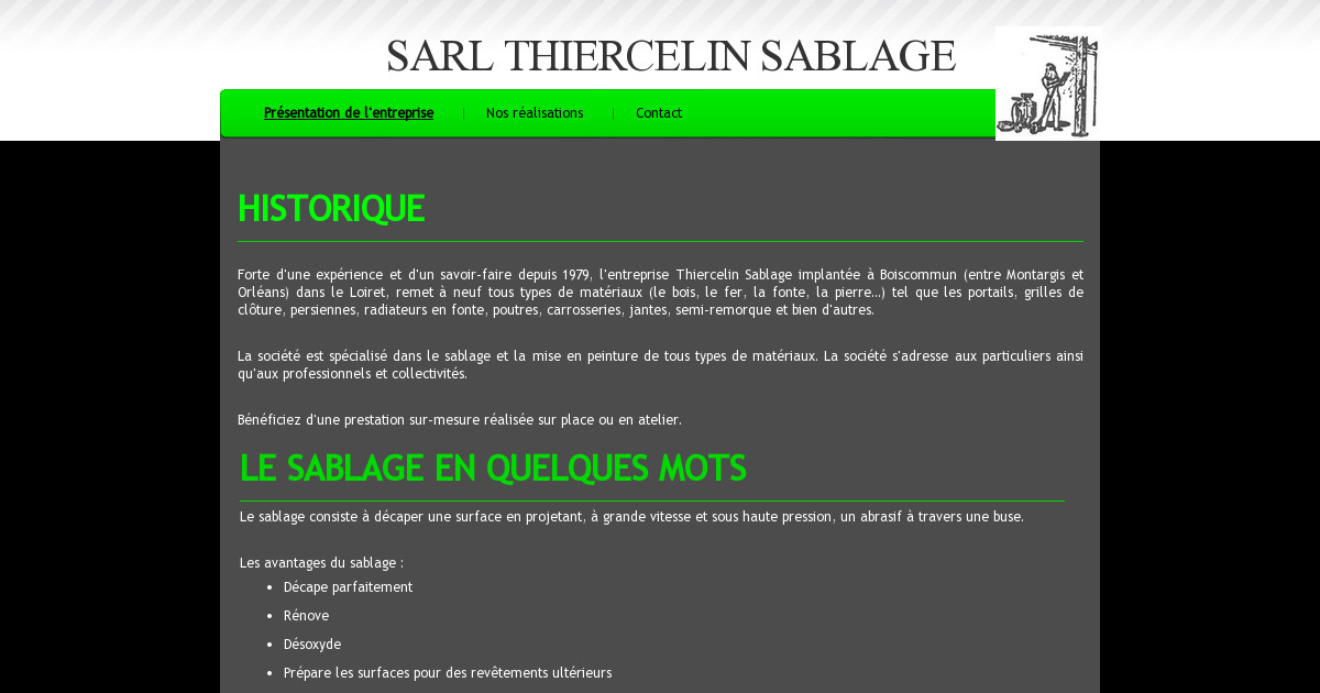 sarl thiercelin sablage pr sentation de l 39 entreprise. Black Bedroom Furniture Sets. Home Design Ideas
